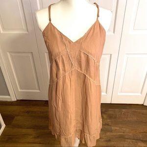 Eliot Nude V-Neckline Silk Shift Dress 10